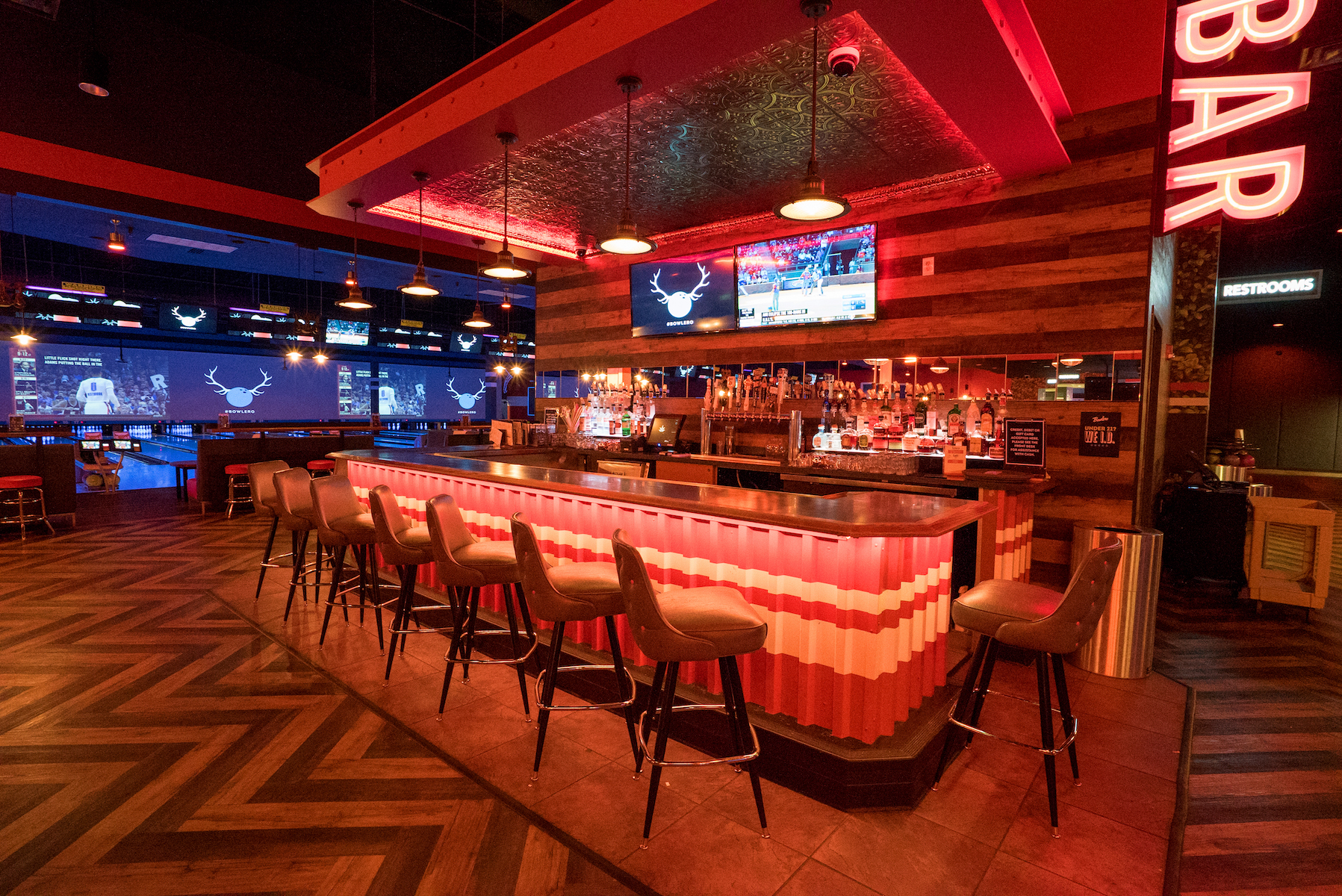 The Super-Bowl event space at Bowlmor Cupertino in Bay Area