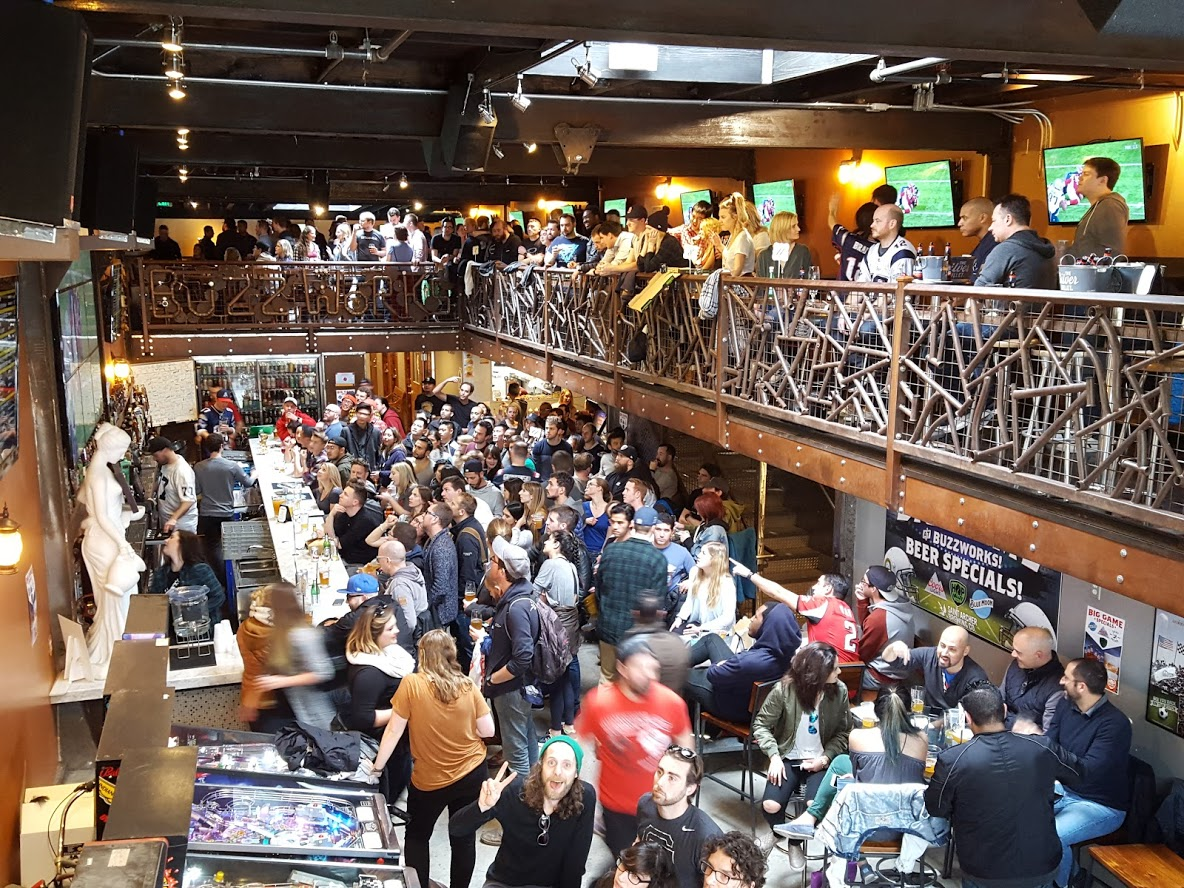 Full Venue event space at BuzzWorks Craft Beer Sports Tavern in San Francisco, SF Bay Area, San Fran
